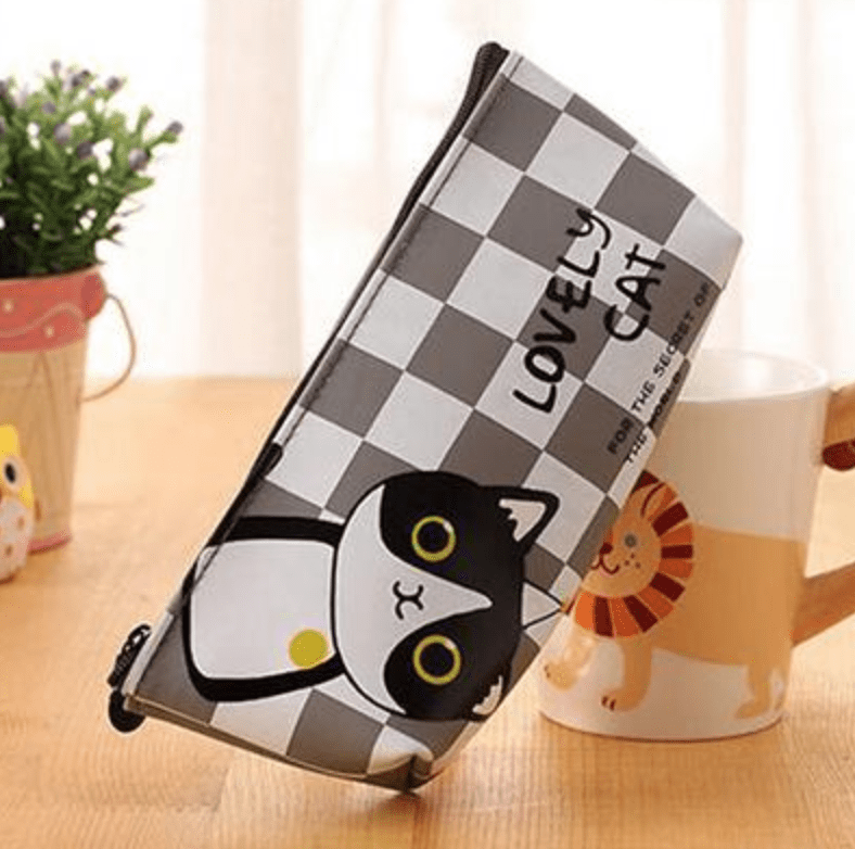 cat themed pencil case with cup 4