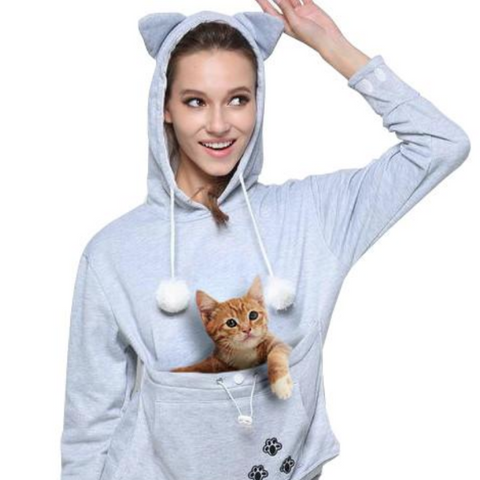 Cat Pouch Grey Hoodie