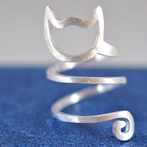 Sterling Silver Spiral Cat Ring