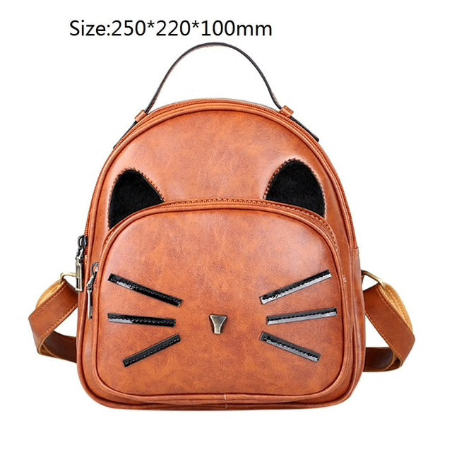 Designer Leather Cat Ear & Whiskers Backpack