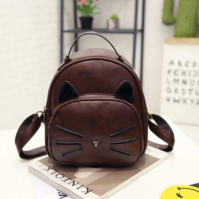 Cat Ear and Whiskers Backpack - Brown Style