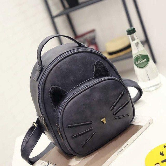 Cat Ear and Whiskers Backpack - Slight Side Angle Black Color
