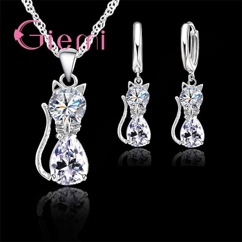 Cat Pendant Necklace and Earrings