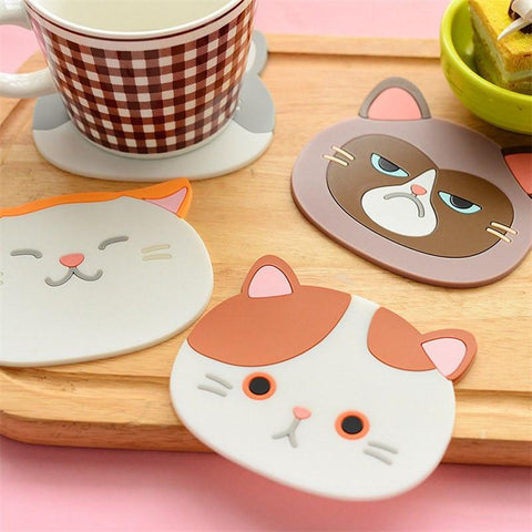 Cat Face Silicone coasters on table