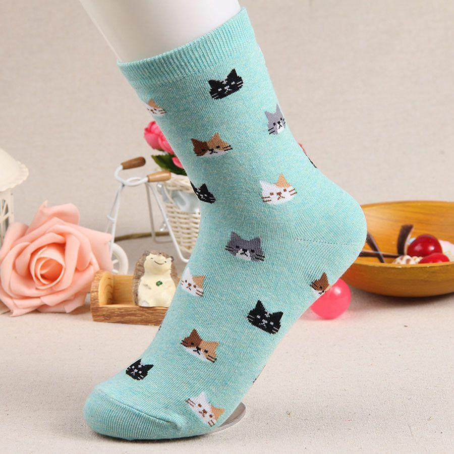 Kitten print cat face socks in green