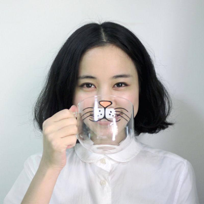 Cat Whiskers Cup Front View - with Model
