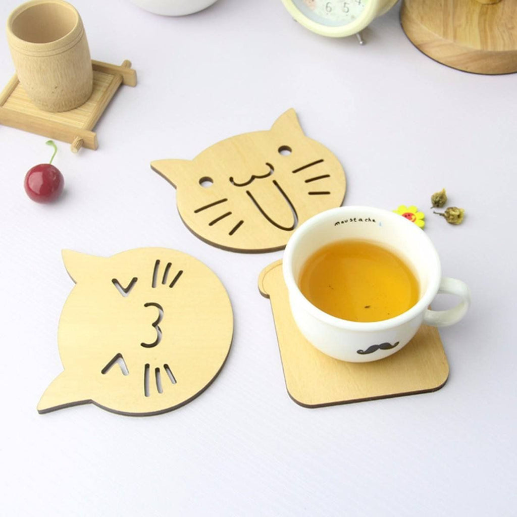 Happy and Surprised Wooden Cat Coasters on Table with Coffee