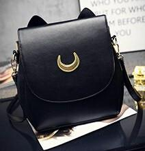 Stylish Cat Moon Leather Handbag