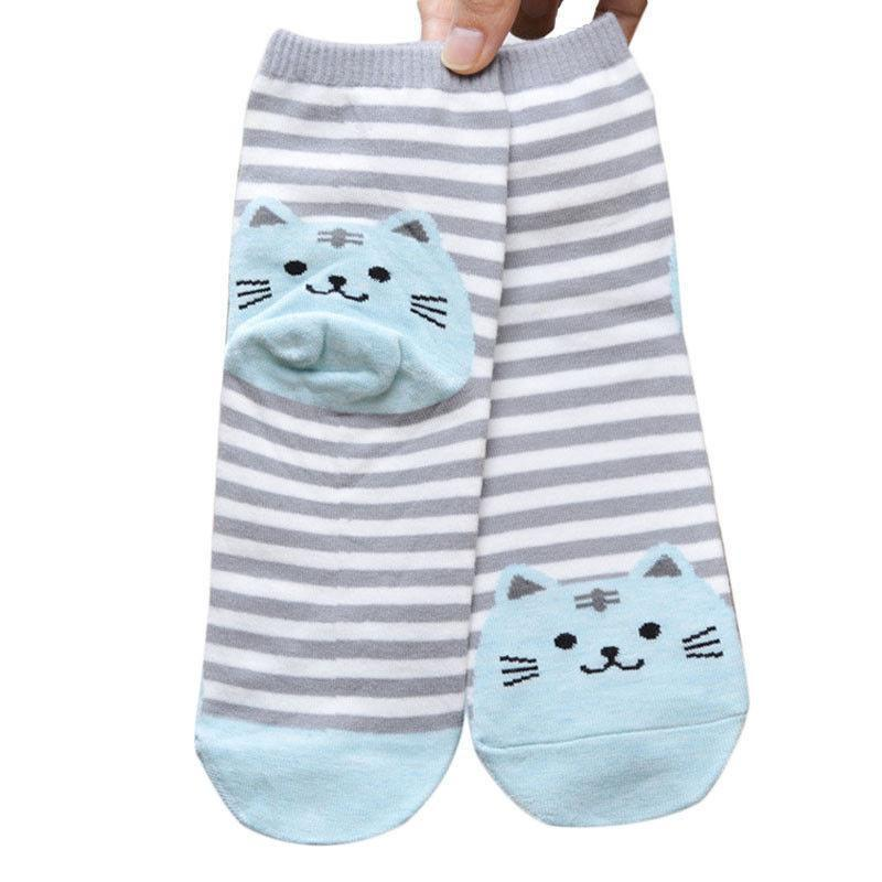 Grey Striped Socks with Baby Blue Fat Cat