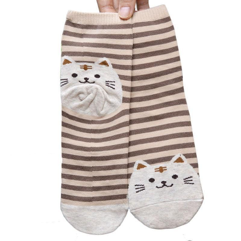 Brown Striped Socks with White Fat Cat