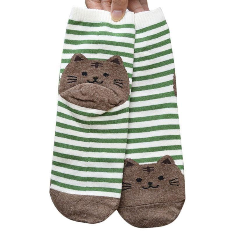 Green Striped Socks with Brown Fat Cat
