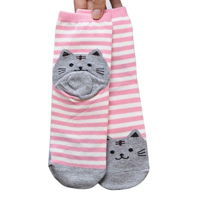 Pink Striped Socks with Grey Fat Cat