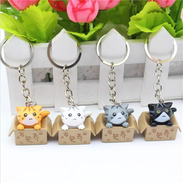 Cat in a box keychain variants on fence
