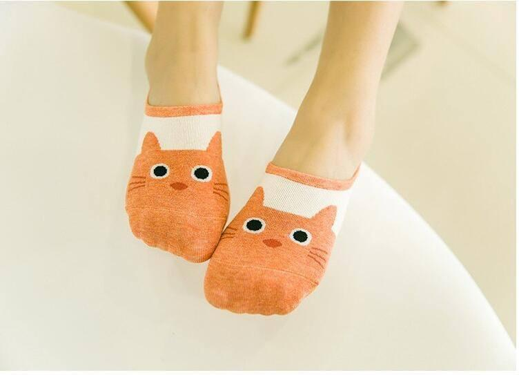 Orange Cat Boat Socks Model