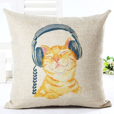 Cat with Headphones Pillow Case