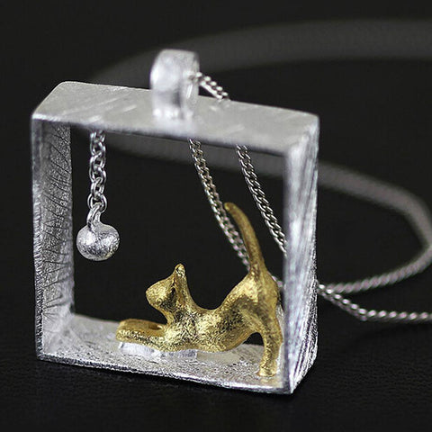 Sterling Silver Cat-in-a-Box-Necklace