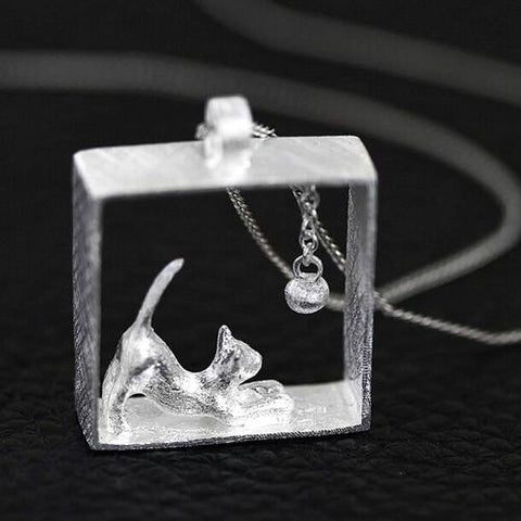 925 Sterling Silver Cat-in-a-Box-Necklace