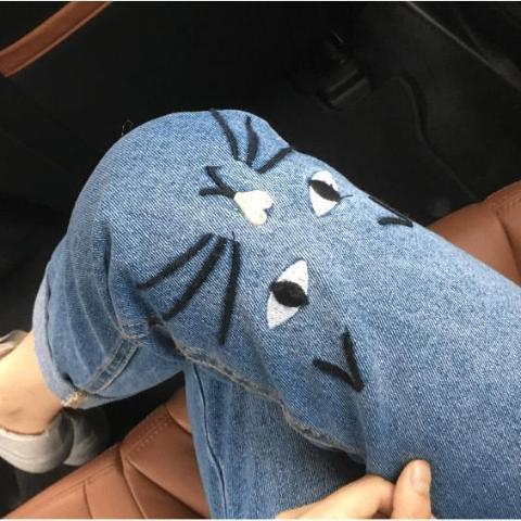 Cat Jeans with Cat Face model