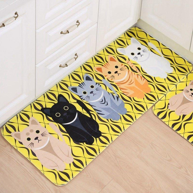 Yellow and Black Background with Kitty Floor Mat