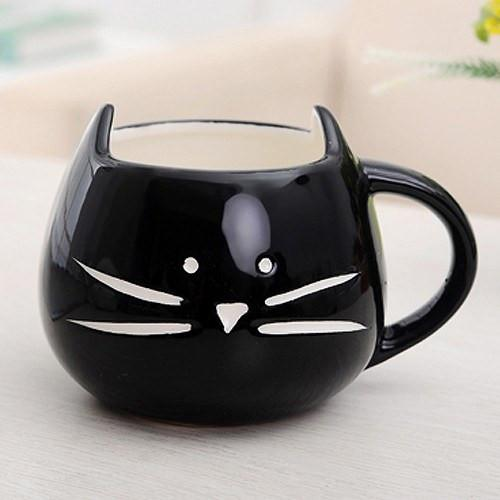 Meow Mug in Black Front View