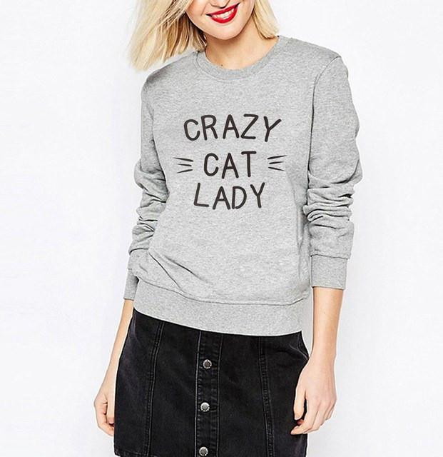 Crazy Cat Lady Sweater in Black Text and Grey Color
