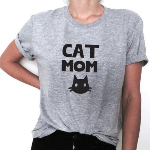 Cat Mom T Shirt with Black Cat Print