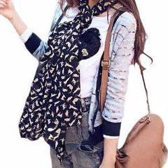 Cat Print Scarf in Black Style Colored