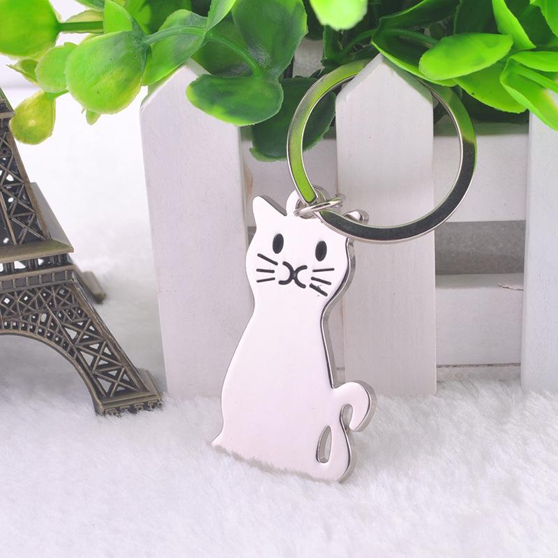 Metal Cat Keychain with props