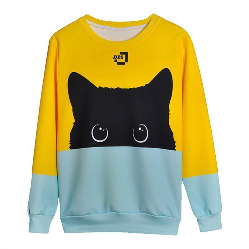 Black Cat Sweatshirt Two Tone