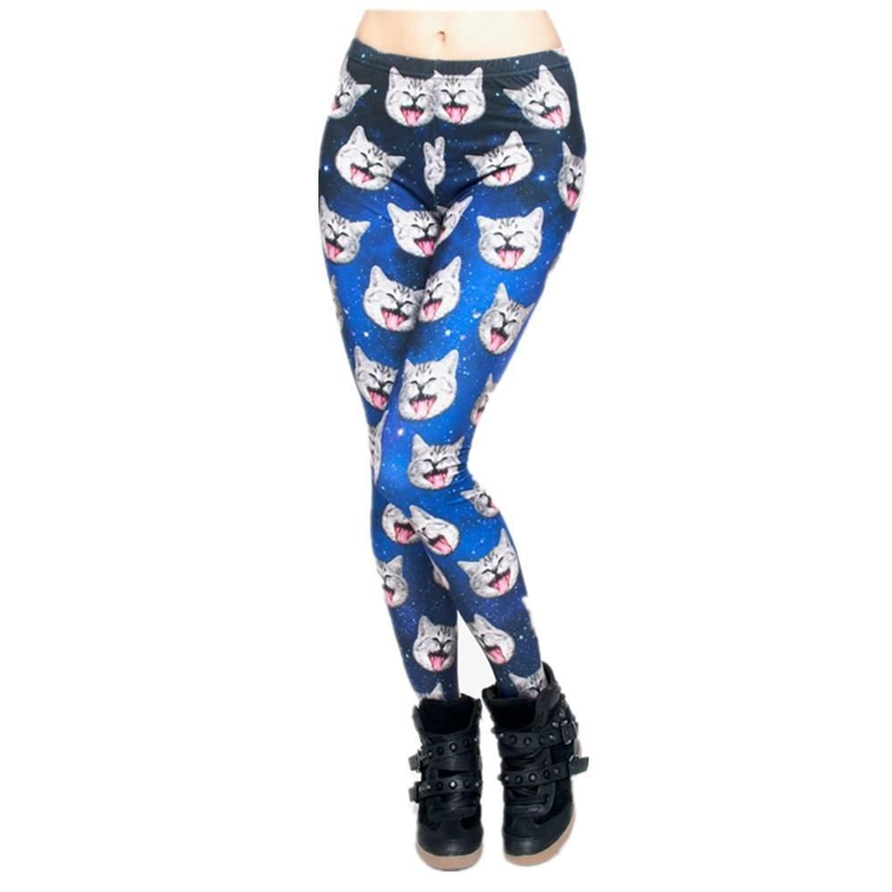 Galaxy Cat Leggings Front View