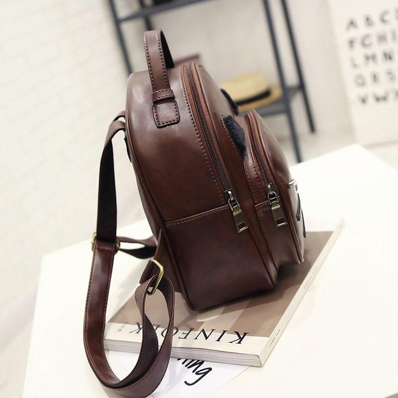 Cat Ear Backpack Side View Brown Colored