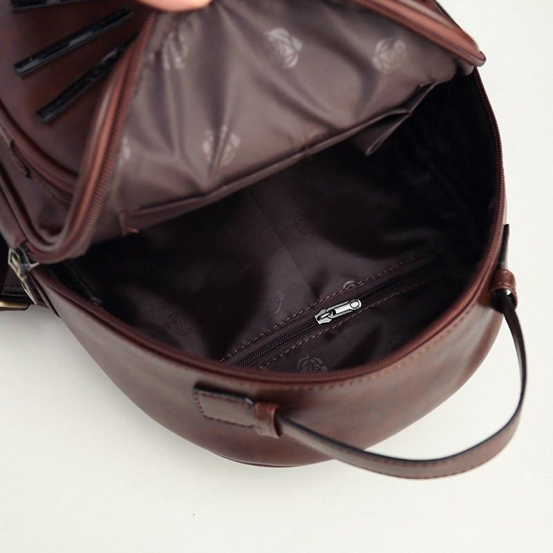 Cat Ear Backpack inside view brown color