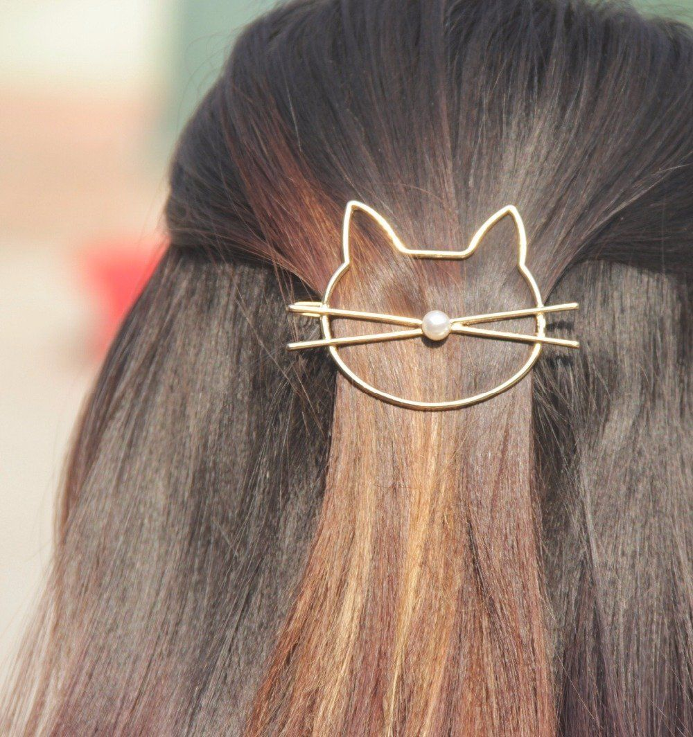 cat hair pin with brown hair zoomed in