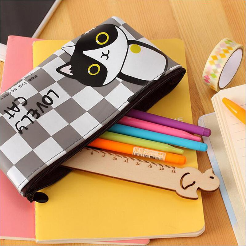 cat pencil case with items