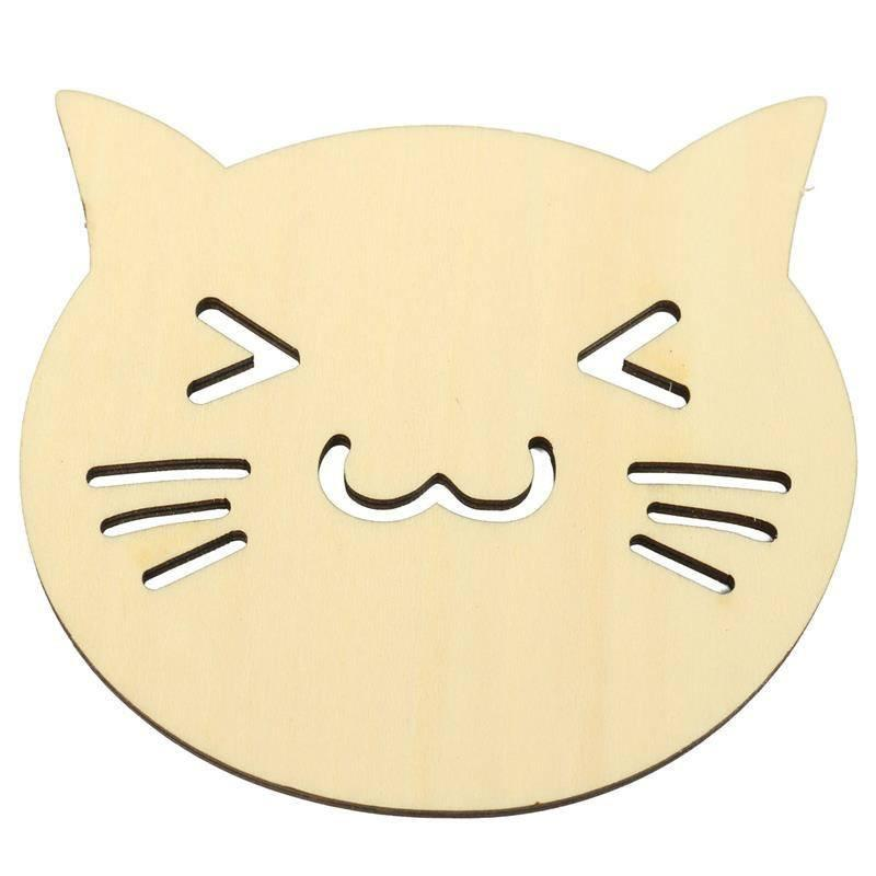 Smiling Cat Face Wooden Coaster