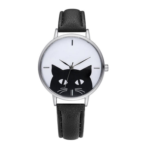 Vintage Black Cat Watch - Front View