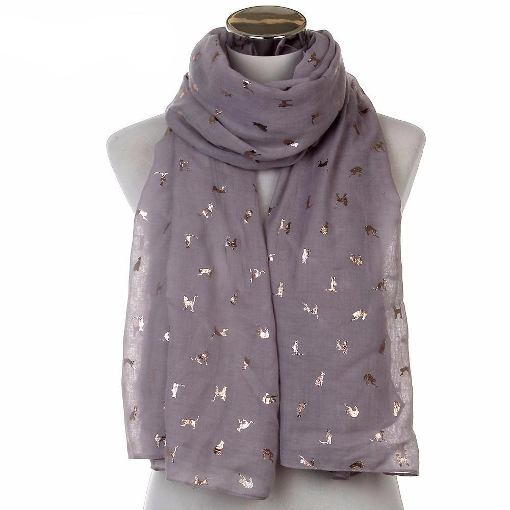 Gold Foil Cat Scarf in Purple Grey (Open Scarf Style)