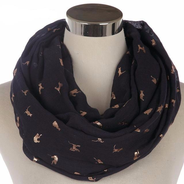 Gold Foil Cat Scarf in Black Color (Infinity Style)