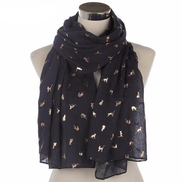 Gold Foil Cat Scarf in Black Color (Open Scarf Style)
