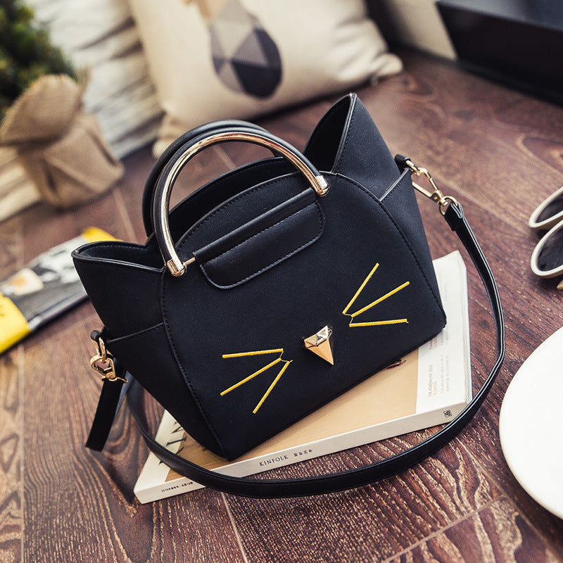 Cat Whiskers Wings Leather Handbag