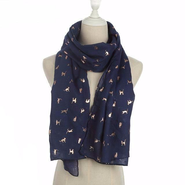 Gold Foil Cat Scarf in Navy Color (Open Scarf Style)