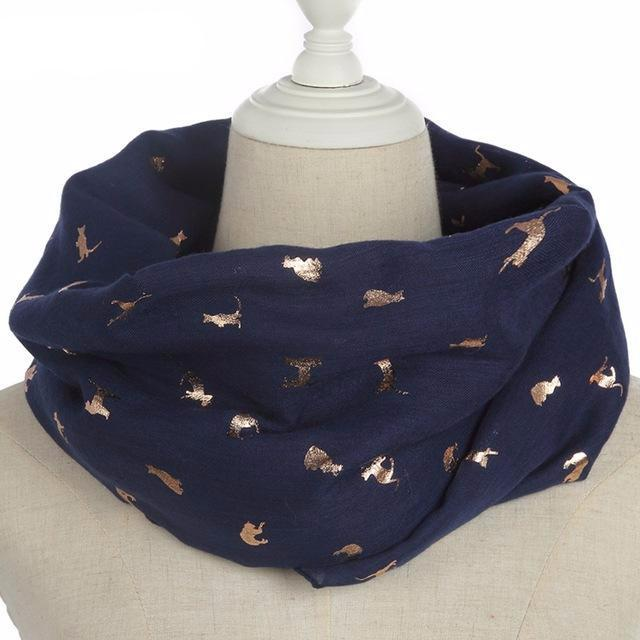 Gold Foil Cat Scarf in Navy Blue Color (Infinity Style)