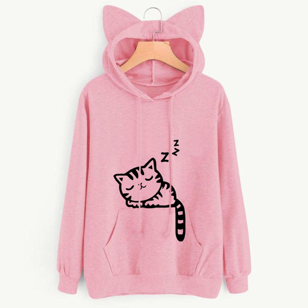 Sleeping Cat Hooded Sweatshirt