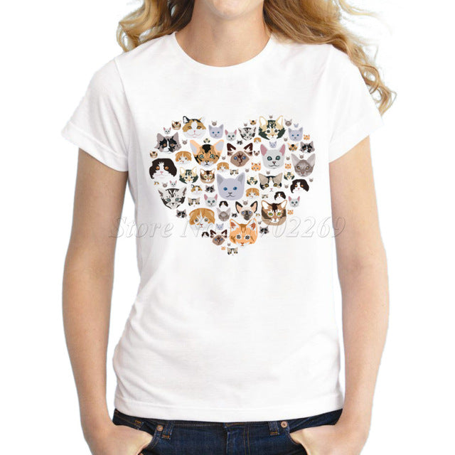 Heart Shaped Cat Face T-Shirt