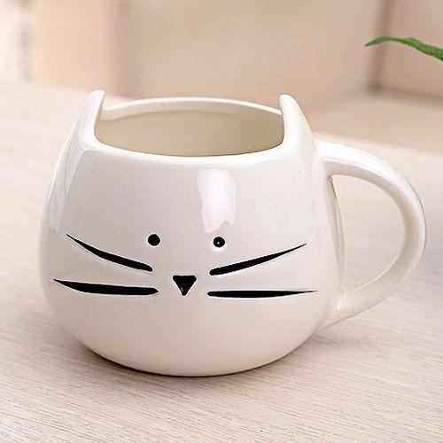 Meow Cat Mug in White Front View