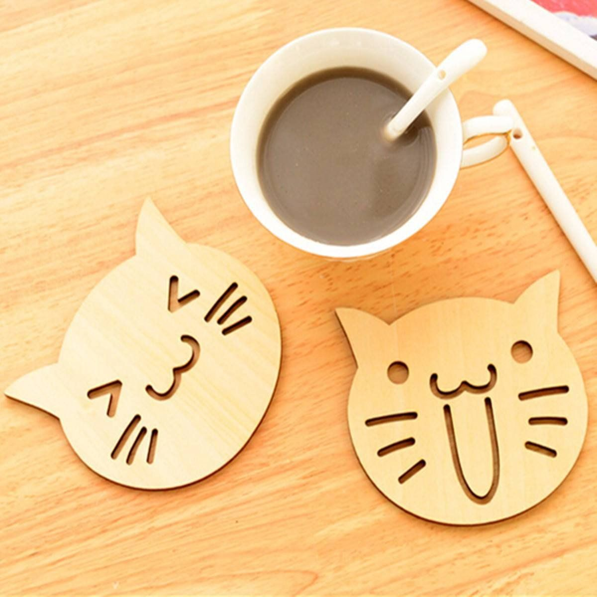 Happy and Surprised Wooden Cat Coasters
