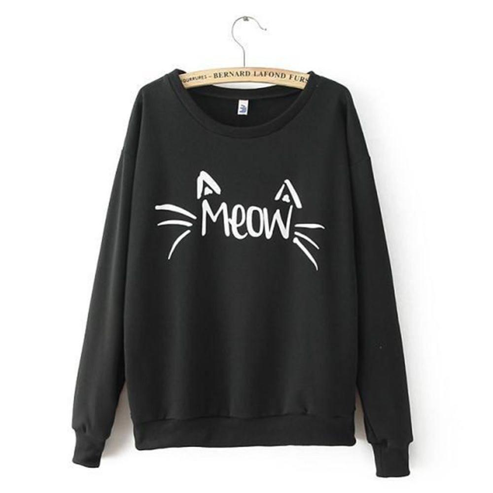 Meow Cat Sweater with White Text Black Colored