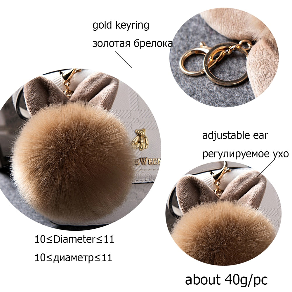 Pom Pom Keychain with Cat Ears