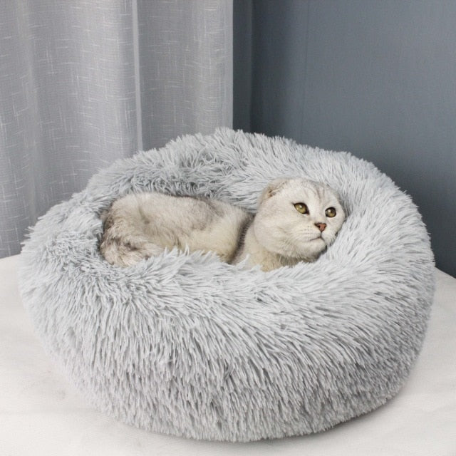 Long Plush Cozy Cat Bed