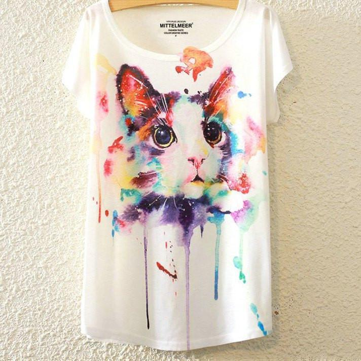 Arty Cat Print T-Shirt - Catify.co